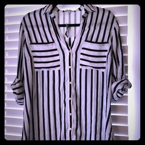 NWT - Classic L Express Striped Button Down Top